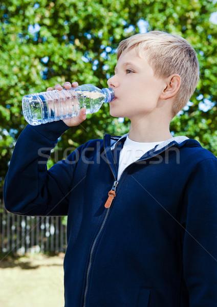 Foto stock: Jovem · potável · saudável · parque · aquático · verão