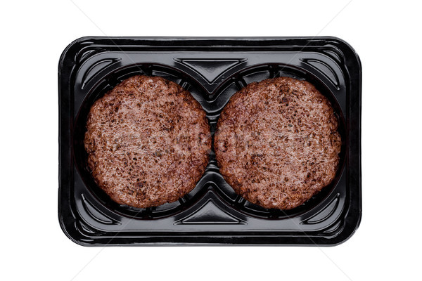 Frito frescos carne de vacuno plástico bandeja blanco Foto stock © DenisMArt