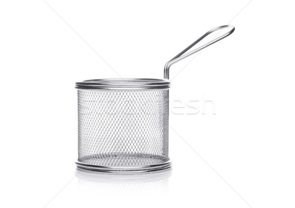 Aço inoxidável cesta branco metal ouro Foto stock © DenisMArt
