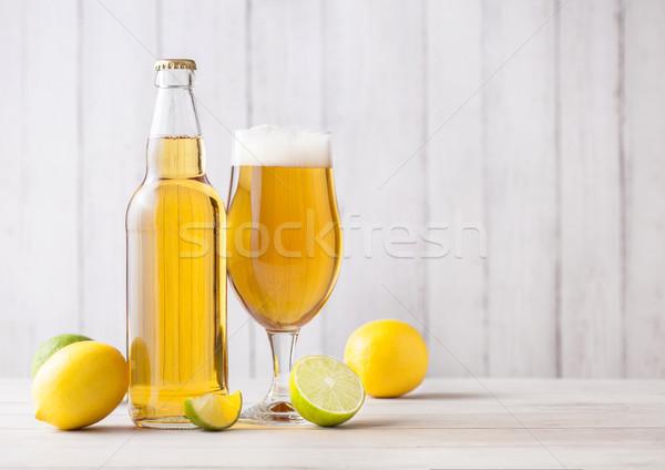 şişe cam alman birası bira limon kireç Stok fotoğraf © DenisMArt