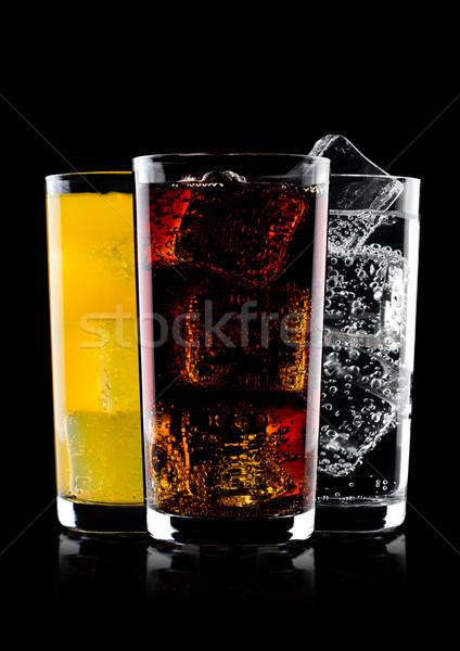 Foto stock: Gafas · cola · naranja · sosa · beber · limonada