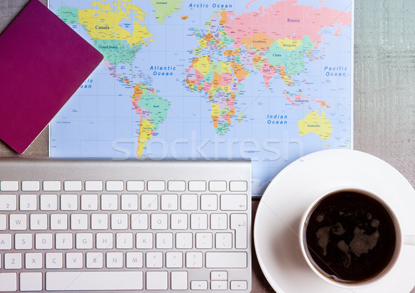 Stock photo: Travel holiday concept with coffee and map flag