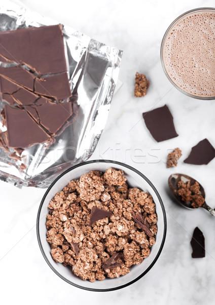 Tál organikus csokoládé granola reggeli reggeli gabonapehely Stock fotó © DenisMArt