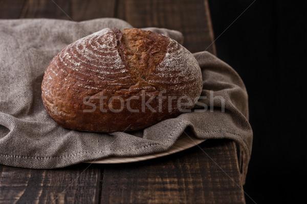 Frissen sült kenyér konyha törölköző fa Stock fotó © DenisMArt