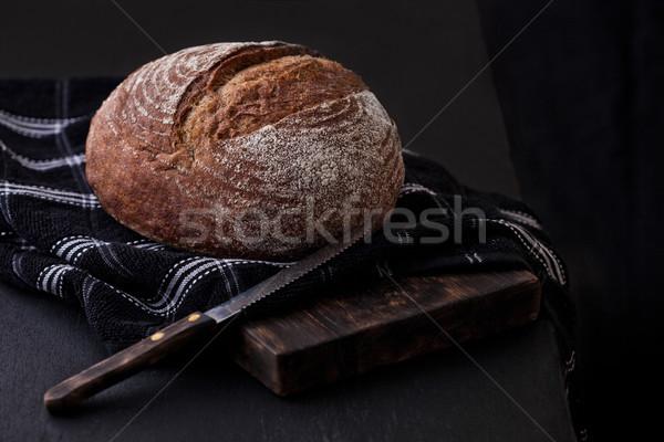 Frissen sült kenyér konyha törölköző kés Stock fotó © DenisMArt