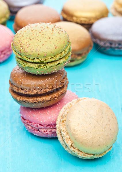 Stok fotoğraf: Fransız · lüks · renkli · macarons · tatlı · kekler