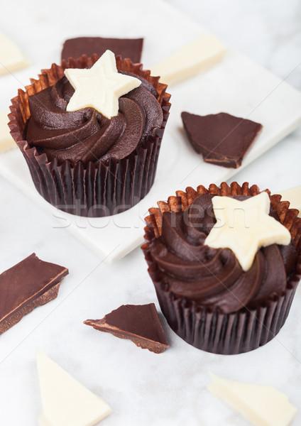Pure chocola witte star marmer chocolade Stockfoto © DenisMArt