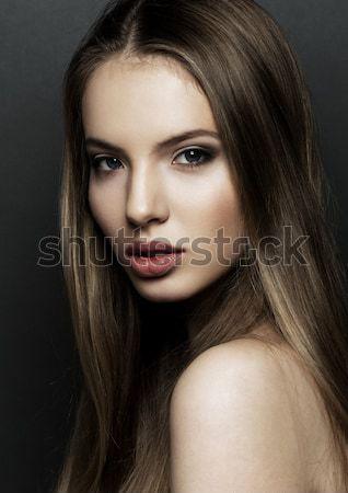 美人 モデル 肖像 長髪 黒 赤い唇 ストックフォト © DenisMArt