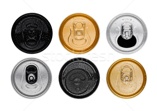 Aluminium soda drink tins top view isolated Stock photo © DenisMArt