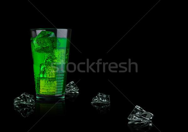 Groene energie soda drinken glas zwarte Stockfoto © DenisMArt