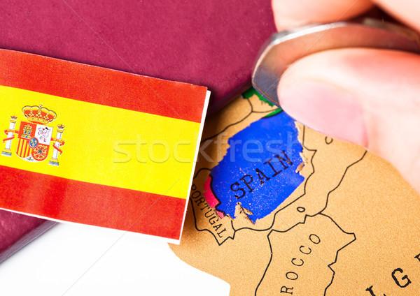 путешествия праздник Испания паспорта флаг женщины Сток-фото © DenisMArt