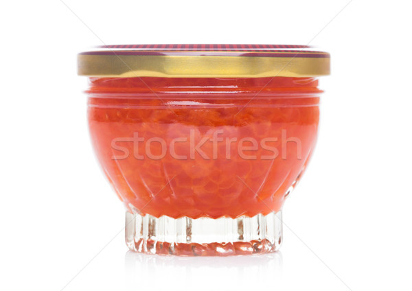 Vidro recipiente luxo vermelho caviar branco Foto stock © DenisMArt