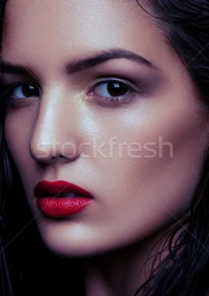 Beauty makeup wet hair fashion model red lips Stock photo © DenisMArt