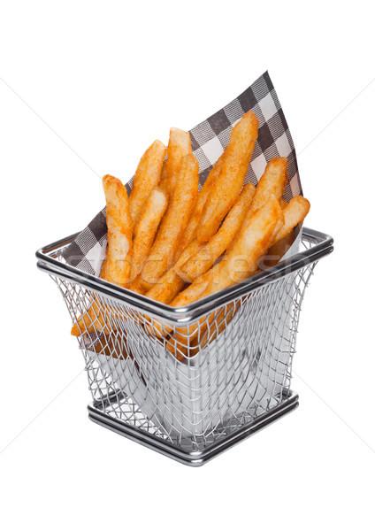 Cesta fries papel preto Foto stock © DenisMArt
