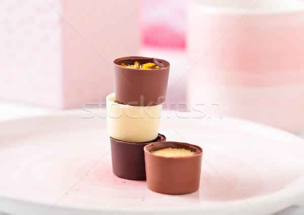 Stock photo: Luxury white and dark chocolate candies variety