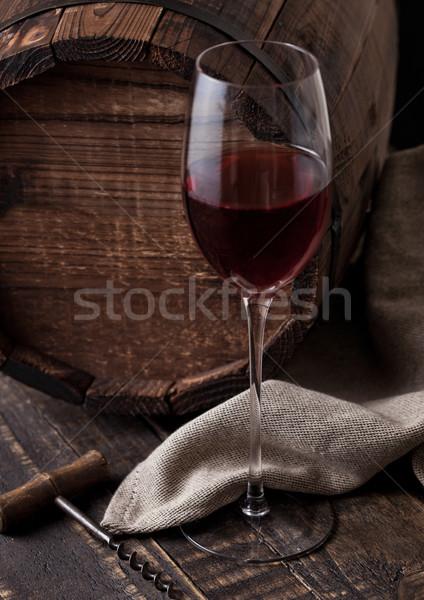 Stockfoto: Glas · rode · wijn · vintage · vat · oude