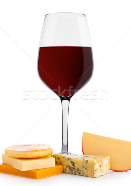 Foto stock: Vidrio · vino · tinto · queso · uvas · blanco · frutas