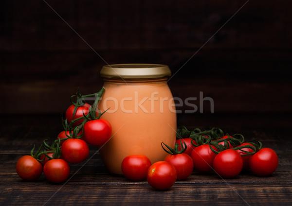 Szkła kremowy sos pomidorowy surowy pomidory świeże Zdjęcia stock © DenisMArt