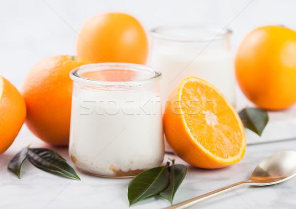 Vers room dessert yoghurt ruw sinaasappelen Stockfoto © DenisMArt