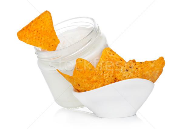 üveg konténer tejföl mártás nachos sültkrumpli Stock fotó © DenisMArt