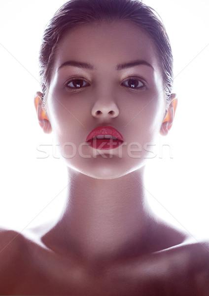 Szépség smink divat modell piros ajkak fehér Stock fotó © DenisMArt