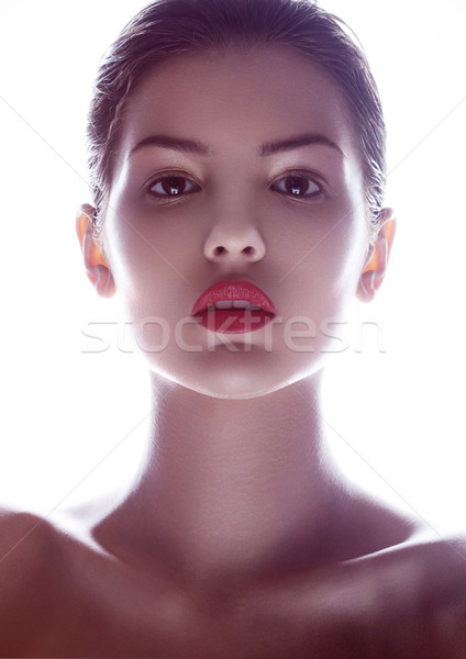 Schoonheid make mode model rode lippen witte Stockfoto © DenisMArt