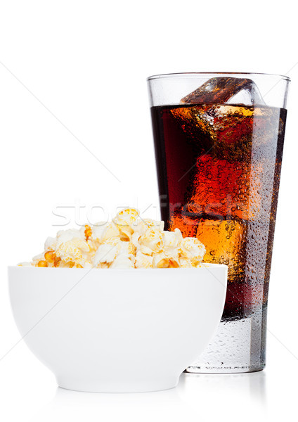Popcorn salty sweet snack in white bowl with cola Stock photo © DenisMArt