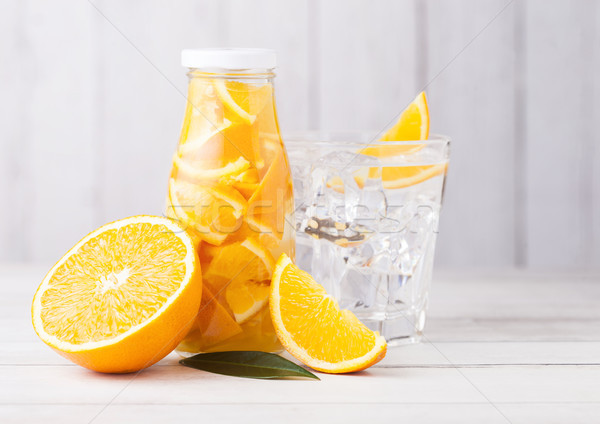 Foto stock: Vidrio · botella · naranja · frutas · agua