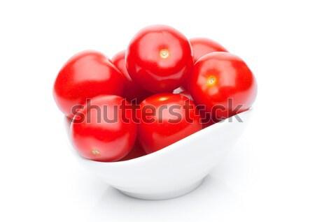 Friss egészséges koktélparadicsom fehér tál étel Stock fotó © DenisMArt