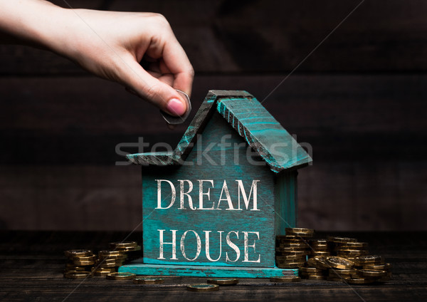 Wooden house model with coins next to it and hand Stock photo © DenisMArt