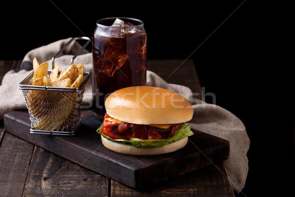 Stock fotó: Friss · marhahús · hamburger · krumpli · kóla · üveg