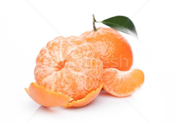 Fresh organic mandarin tangerine fruit with leaves Stock photo © DenisMArt