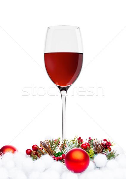 赤ワイン 眼鏡 クリスマス 装飾 白 ツリー ストックフォト © DenisMArt