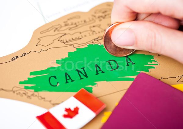 путешествия праздник Канада паспорта флаг женщины Сток-фото © DenisMArt