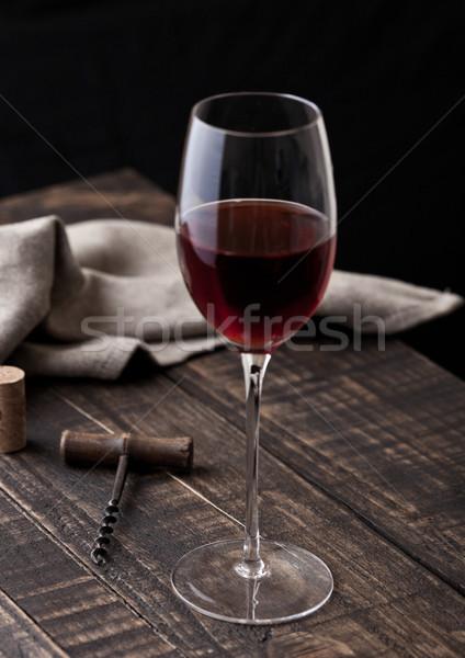 Vidro vinho tinto vintage cozinha mesa de madeira Foto stock © DenisMArt