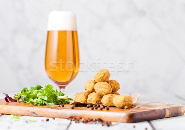 Popcorn świeże Sałatka piwa Zdjęcia stock © DenisMArt