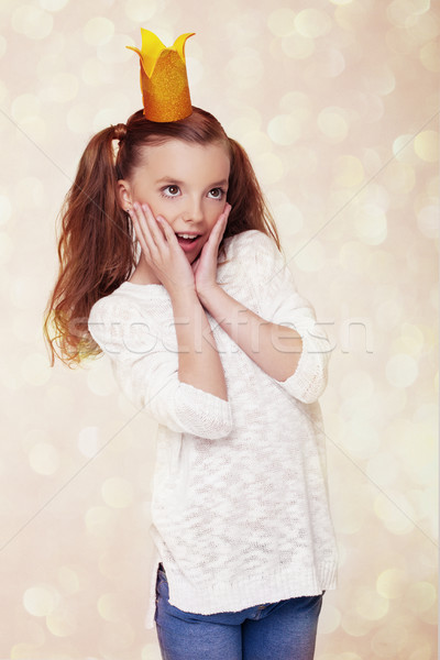 Beautiful cute little princess girl with crown  Stock photo © DenisMArt