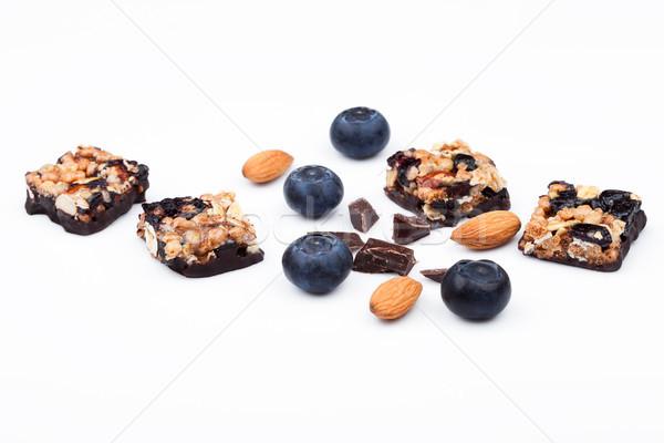 Stok fotoğraf: Sağlıklı · tahıl · bar · badem · yaban · mersini