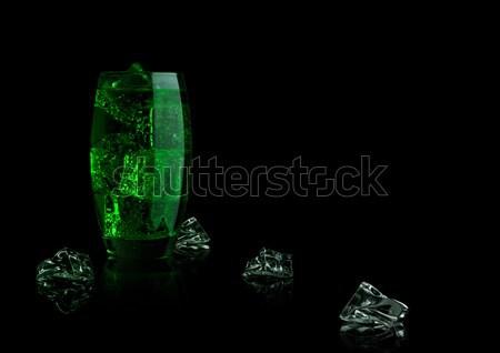 Yeşil enerji soda içmek cam siyah Stok fotoğraf © DenisMArt
