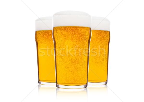 Soğuk gözlük alman birası bira köpük çiy Stok fotoğraf © DenisMArt