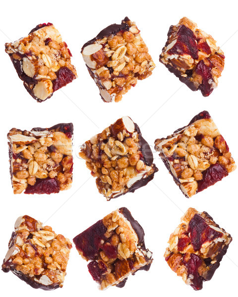 Protein cereal energy mini bars nuts and rasins Stock photo © DenisMArt