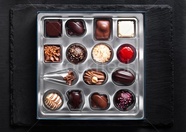 роскошь белый темный шоколад конфеты разнообразие Сток-фото © DenisMArt