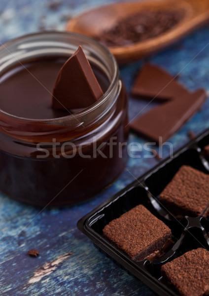 Chocolate biscuit shortcake dessert on blue board Stock photo © DenisMArt