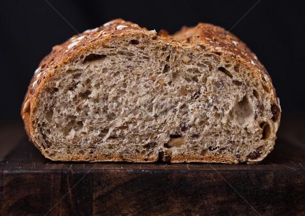 Frissen sült kenyér fa deszka étel űr Stock fotó © DenisMArt
