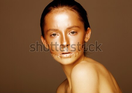 Beauty portrait with foundation makeup over face Stock photo © DenisMArt