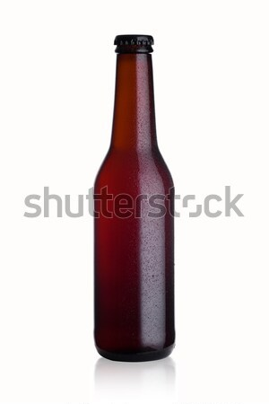 Bruin glas bierfles zwarte cap dauw Stockfoto © DenisMArt