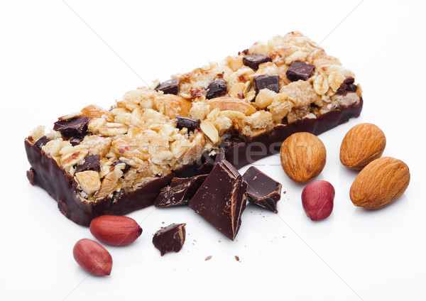 Chocolate protein cereal energy bar with almonds Stock photo © DenisMArt