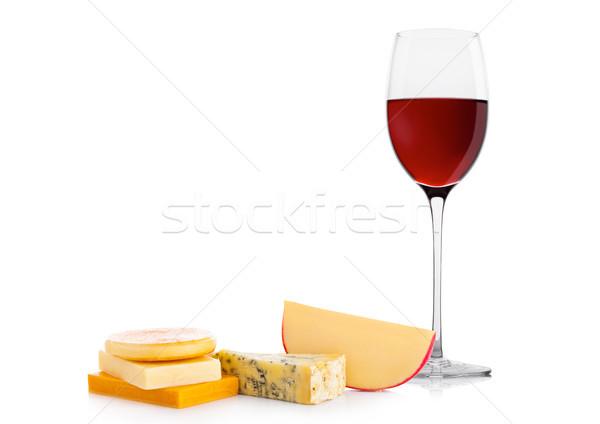 üveg vörösbor sajt szőlő fehér gyümölcs Stock fotó © DenisMArt