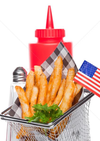 Stockfoto: Mand · vers · zuidelijk · frietjes · ketchup · zout
