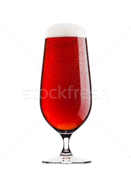 Frio vidro vermelho amargo cerveja espuma Foto stock © DenisMArt